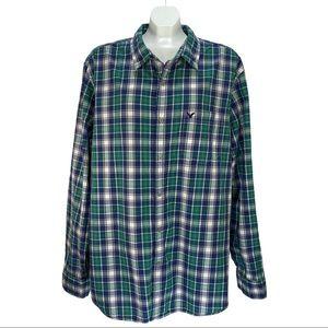 American Eagle Athletic Fit Blue Green Plaid Shirt